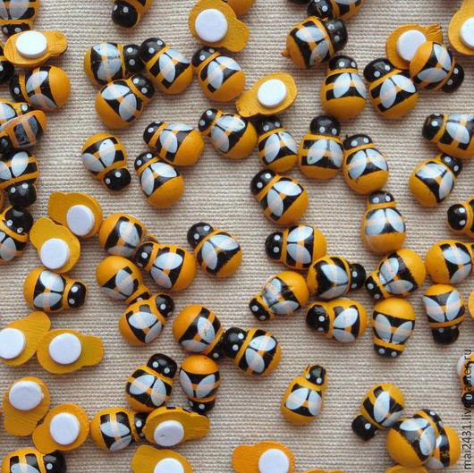 Полубусины (кабошон) деревянные пчелка