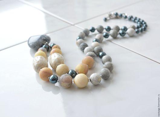 бусы с кулоном , бусы с подвеской , серые бусы , бусы из натурального камня,красивые бусы ,купить бусы ,украшение на шею , подарок женщине