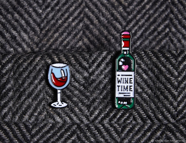 Двойной значок Винишко, вино бокал бухлишко эмаль, Украшения, Москва,  Фото №1