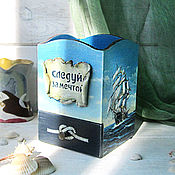 Канцелярские товары handmade. Livemaster - original item Pencil holder wooden decoupage men`s marine with ship blue. Handmade.