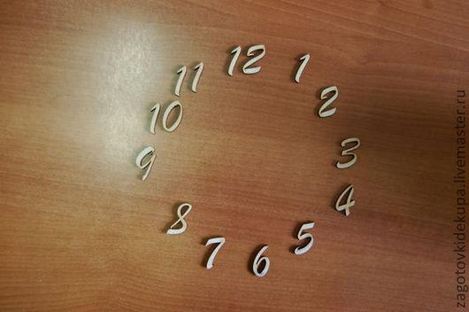 Набор цифр для часов  (Продается в палетках) Высота цифры - 3 см  Материал: фанера 3 мм