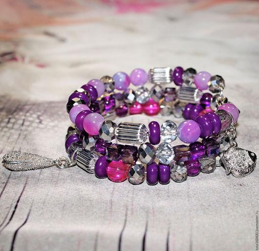 """Браслеты ручной работы. Ярмарка Мастеров - ручная работа. Купить Сет из 3 браслетов """"Виолетта"""". Handmade. Браслет, элегантный, ультрафиолет"""