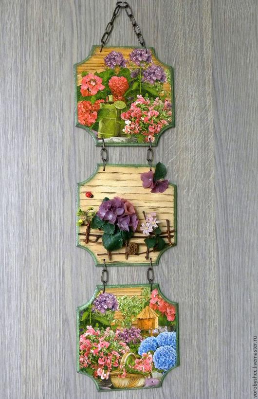 """Картины цветов ручной работы. Ярмарка Мастеров - ручная работа. Купить СКИДКА 20% Панно """"На даче"""". Handmade. Цветы"""