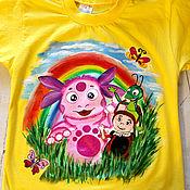 Одежда handmade. Livemaster - original item Children`s t-shirt with Luntik pattern hand painted. Handmade.