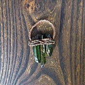 Украшения ручной работы. Ярмарка Мастеров - ручная работа Кулон с зеленым кварцем (гальваника). Handmade.