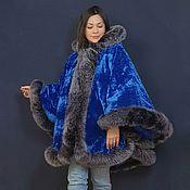Одежда handmade. Livemaster - original item Velvet poncho with fox bluefrost. Handmade.