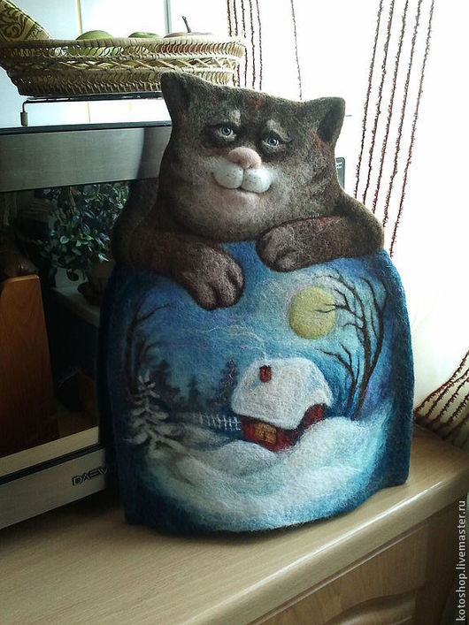 """Кухня ручной работы. Ярмарка Мастеров - ручная работа. Купить Котогрелка войлочная """"Чай с котом 2"""". Handmade. Кот"""