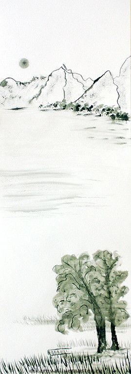 """Пейзаж ручной работы. Ярмарка Мастеров - ручная работа. Купить Картина """"Мостки"""". Handmade. Белый, горы воды суми-ё"""