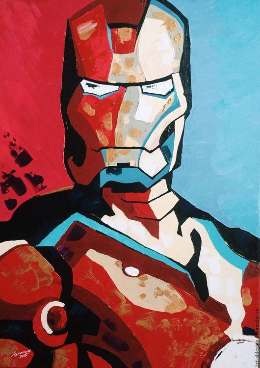 Люди, ручной работы. Ярмарка Мастеров - ручная работа. Купить Железный человек. Handmade. Ярко-красный, мастихин, акрил