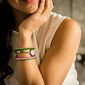 """Украшения ручной работы. Ярмарка Мастеров - ручная работа Сиренево-зеленые наручные часы из бисера """"Лето"""". Handmade."""