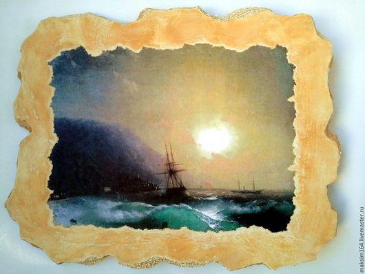 Пейзаж ручной работы. Ярмарка Мастеров - ручная работа. Купить Картина на камне Шторм ночного моря. Handmade. Тёмно-синий