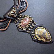 Украшения handmade. Livemaster - original item Leather necklace and earrings. Handmade.
