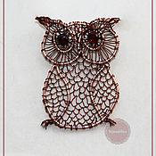 Украшения handmade. Livemaster - original item Pendant with garnet Owl. Handmade.