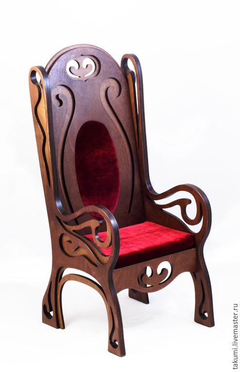 Кукольный дом ручной работы. Ярмарка Мастеров - ручная работа. Купить Кресло с высокой резной спинкой широкое (модель 06). Handmade.