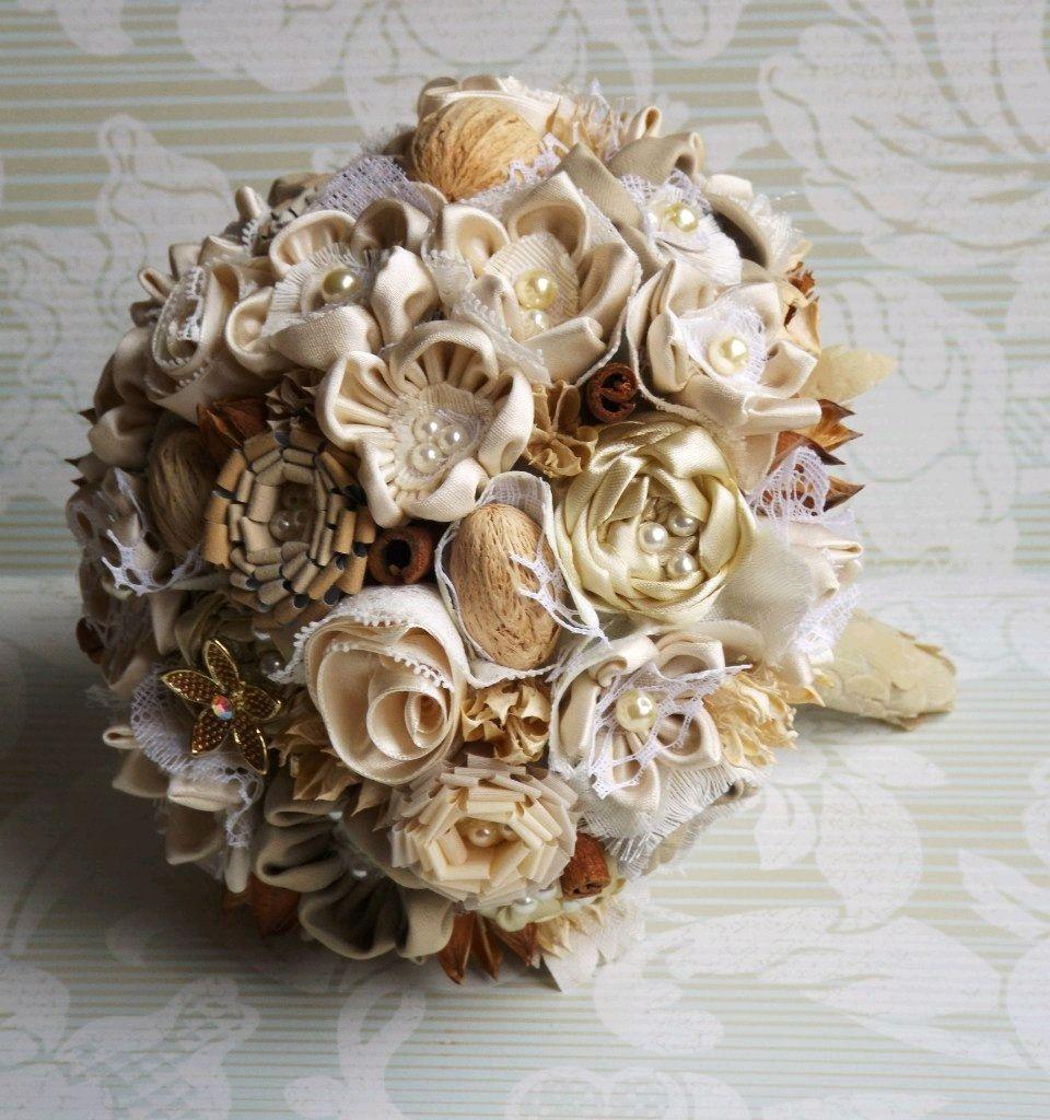 Wedding brooch bouquet in natural rustic style. Beige bouquet – shop ...