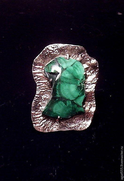 Кольца ручной работы. Ярмарка Мастеров - ручная работа. Купить Перстень с уральским малахитом. Handmade. Зеленый, перстень с малахитом