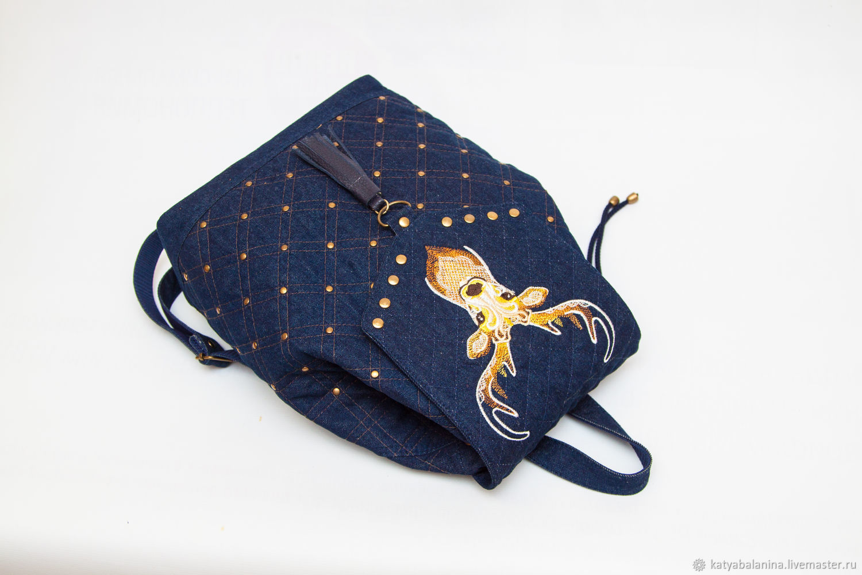 Рюкзак стеганый джинсовый с вышивкой Золоторогий олень, Рюкзаки, Муром,  Фото №1