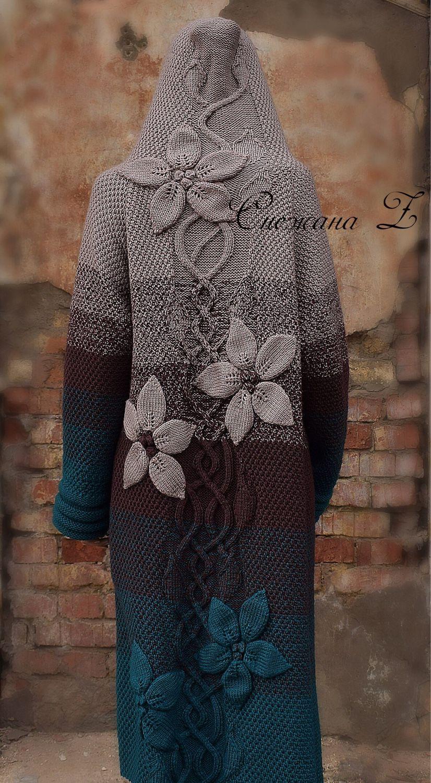 """Пальто вязаное с капюшоном """" Три цвета  стиля"""", Пальто, Ижевск, Фото №1"""