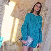 Одежда handmade. Livemaster - original item dresses: Women`s knitted dress oversize color bright mint. Handmade.