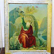Винтаж handmade. Livemaster - original item The icon of the ancient Prophet Elijah f-ka Bakery. Handmade.