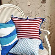 Для дома и интерьера handmade. Livemaster - original item Pillow (pillow cover) in the marine style Band of luck. Handmade.