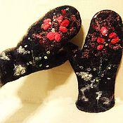 Аксессуары ручной работы. Ярмарка Мастеров - ручная работа Варежки, цветок аленький. Handmade.