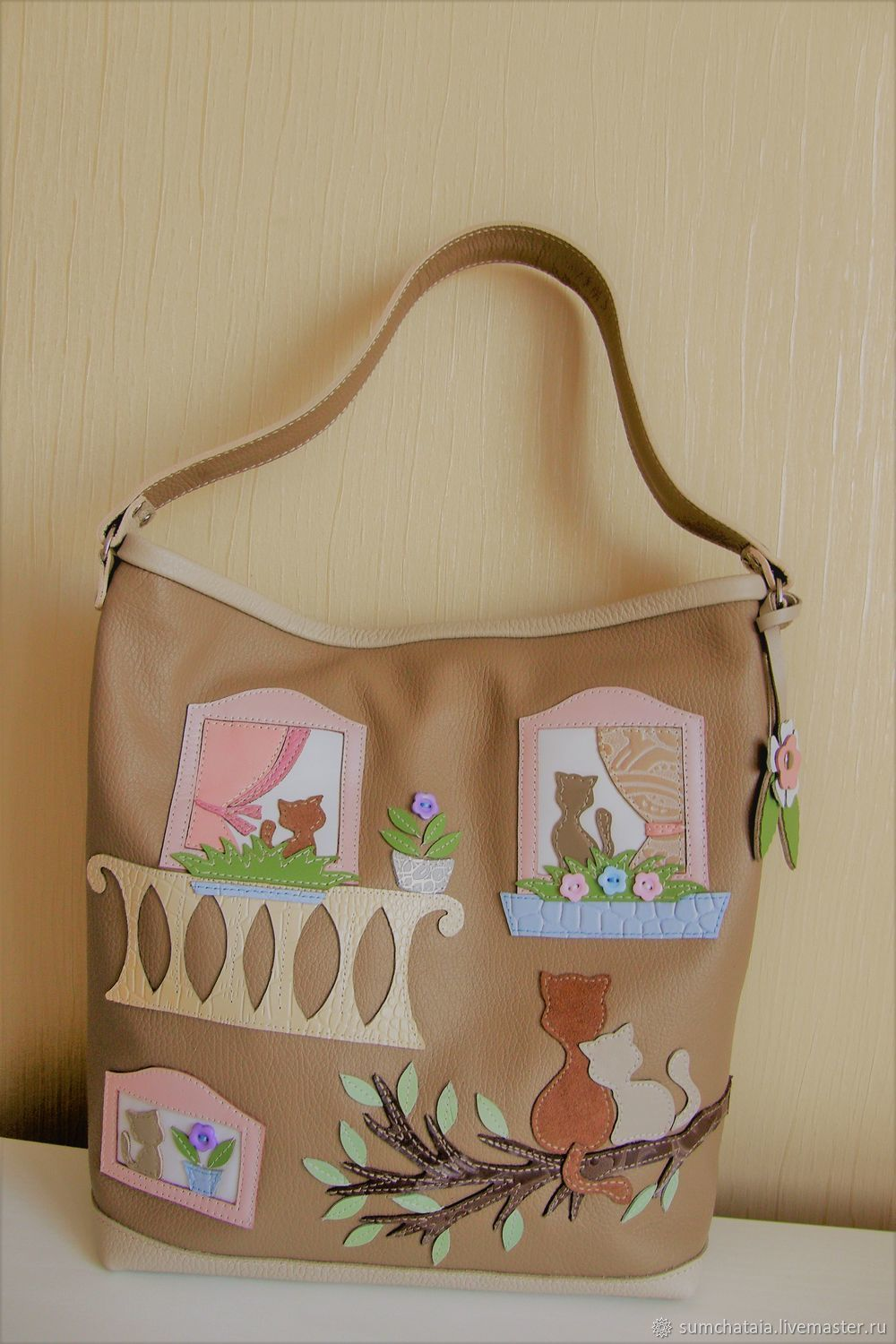 Bag leather ' Windows ', Classic Bag, Yaroslavl,  Фото №1
