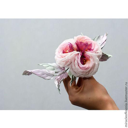 """Заколки ручной работы. Ярмарка Мастеров - ручная работа. Купить Украшение """" Шёлковый Флёр"""". Handmade. Староанглийская роза, шелк"""