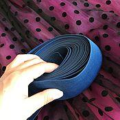Материалы для творчества ручной работы. Ярмарка Мастеров - ручная работа Резинка цветная широкая синяя. Handmade.