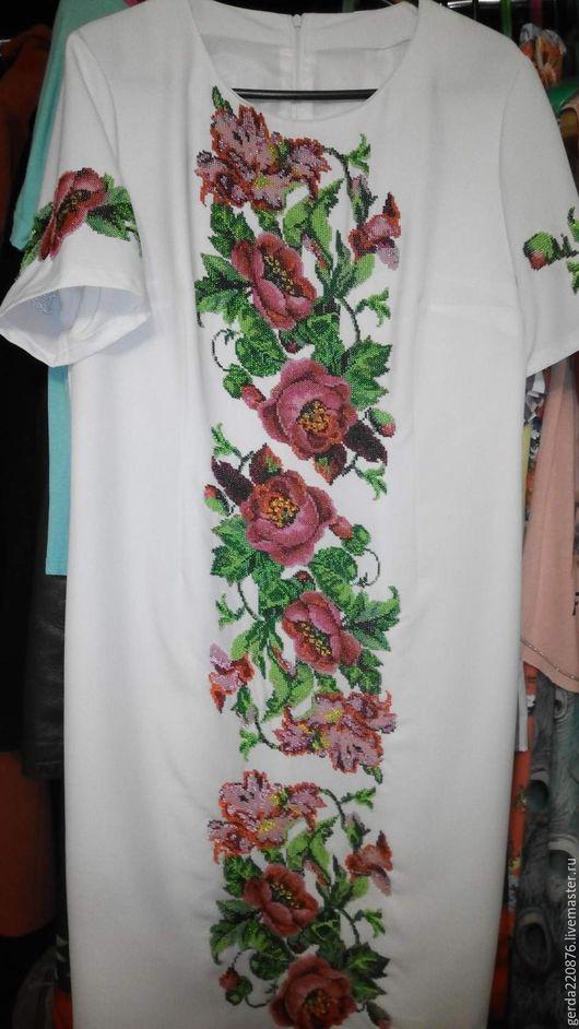 Платья ручной работы. Ярмарка Мастеров - ручная работа. Купить вышитое платье бисером. Handmade. Белый, Вышиванка, платье вечернее