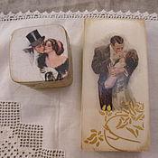 """Подарки к праздникам ручной работы. Ярмарка Мастеров - ручная работа Наборы к свадьбе """"Поцелуй"""" - купюрница и шкатулка для колец. Handmade."""