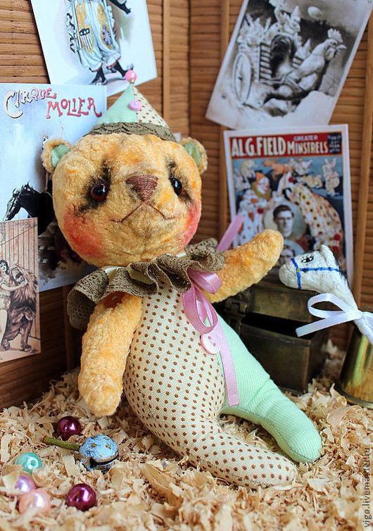 Мишки Тедди ручной работы. Ярмарка Мастеров - ручная работа. Купить Мишка Тралли. Handmade. Оранжевый, клоун, шапито, зеленый