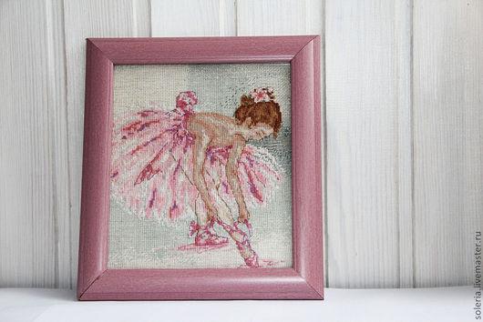 """Люди, ручной работы. Ярмарка Мастеров - ручная работа. Купить Вышивка крестом"""" Маленькая балерина"""". Handmade. Розовый, подарок девушке"""