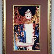 """Картины и панно handmade. Livemaster - original item Embroidered picture G.Klimt """"Judith"""". Handmade."""