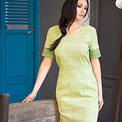 Одежда handmade. Livemaster - original item Dress of textured cotton olive green short sleeved. Handmade.