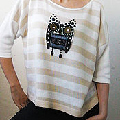 Одежда ручной работы. Ярмарка Мастеров - ручная работа Полосатый джемпер с совой 2. Handmade.