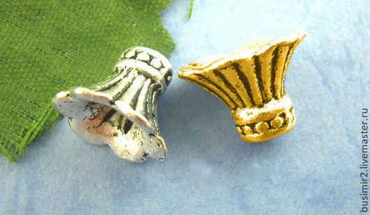 Шапочка для бусин, цвет - античное серебро, античное золото. Размер 9х12 мм. Фурнитура для создания украшений. Busimir