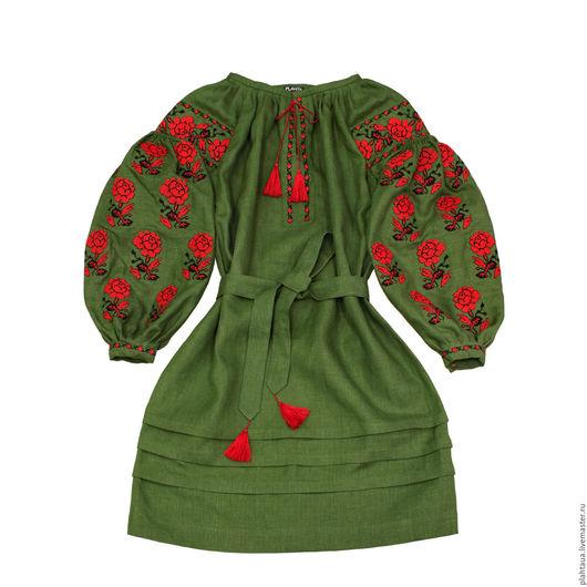 """Платья ручной работы. Ярмарка Мастеров - ручная работа. Купить Платье-вышиванка """"Лесная Роза"""". Handmade. Тёмно-зелёный"""