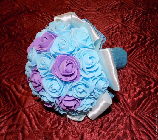 Свадебные цветы ручной работы. Ярмарка Мастеров - ручная работа. Купить Букет из фоамирана голубого цвета. Handmade. Голубой, кружево