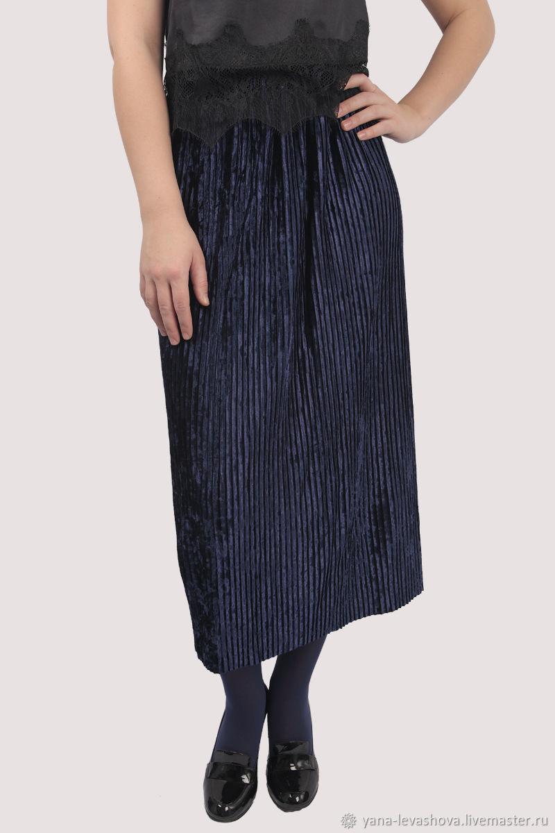 Velvet pleated skirt dark blue, Skirts, Moscow,  Фото №1
