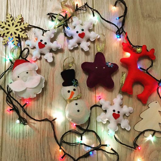 Новый год 2017 ручной работы. Ярмарка Мастеров - ручная работа. Купить Елочные игрушки из фетра. Handmade. Обезьянка, обезьяна игрушка