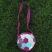 Сумки и аксессуары handmade. Livemaster - original item Round Patchwork Shoulder Bag, Fuchsia, Purple. Handmade.