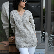 Одежда handmade. Livemaster - original item Pullover: Women`s Long Tweed Jumper. Handmade.
