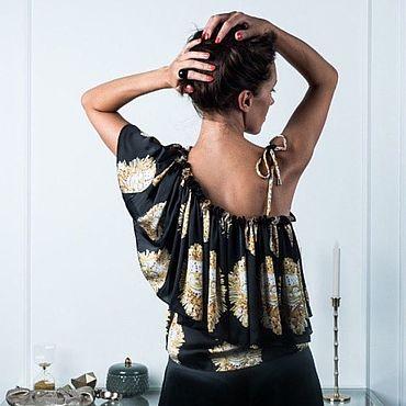 Одежда ручной работы. Ярмарка Мастеров - ручная работа Шёлковый топ с воланом. Handmade.