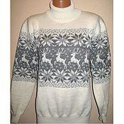 Одежда handmade. Livemaster - original item Sweater knit with a Norwegian reindeer and ornaments. Handmade.