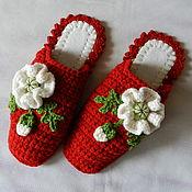 """Обувь ручной работы. Ярмарка Мастеров - ручная работа """"Страстные маки"""" тапочки (38-39 р-р) (подошва валяная). Handmade."""