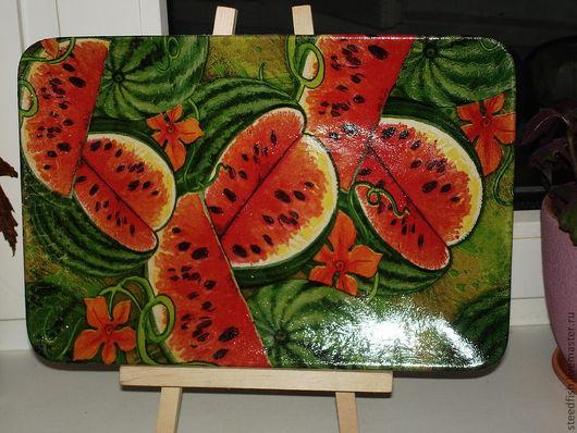 Тарелки ручной работы. Ярмарка Мастеров - ручная работа. Купить блюдо из керамики. Handmade. Ярко-красный, арбузы, керамическое блюдо