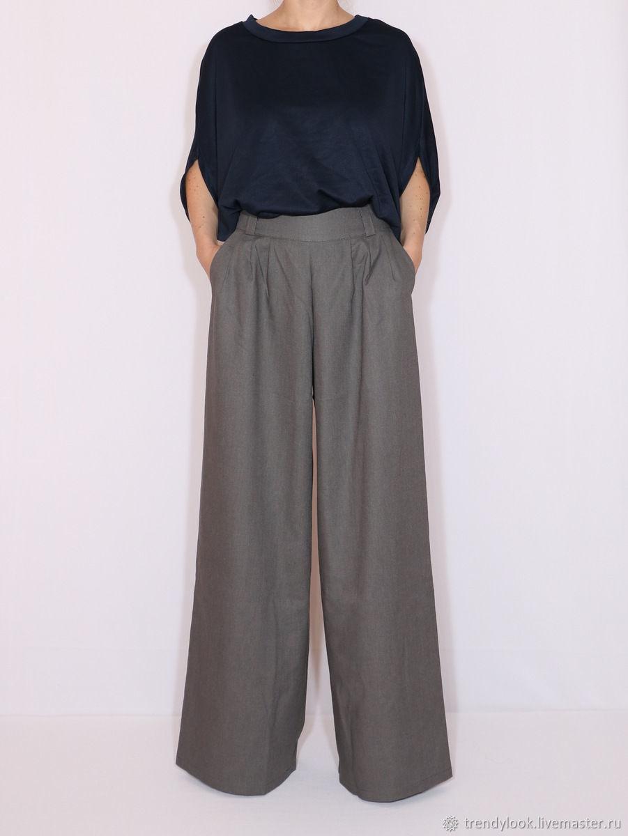 Льняные брюки Широкие штаны темно-серые, Брюки, Сочи,  Фото №1