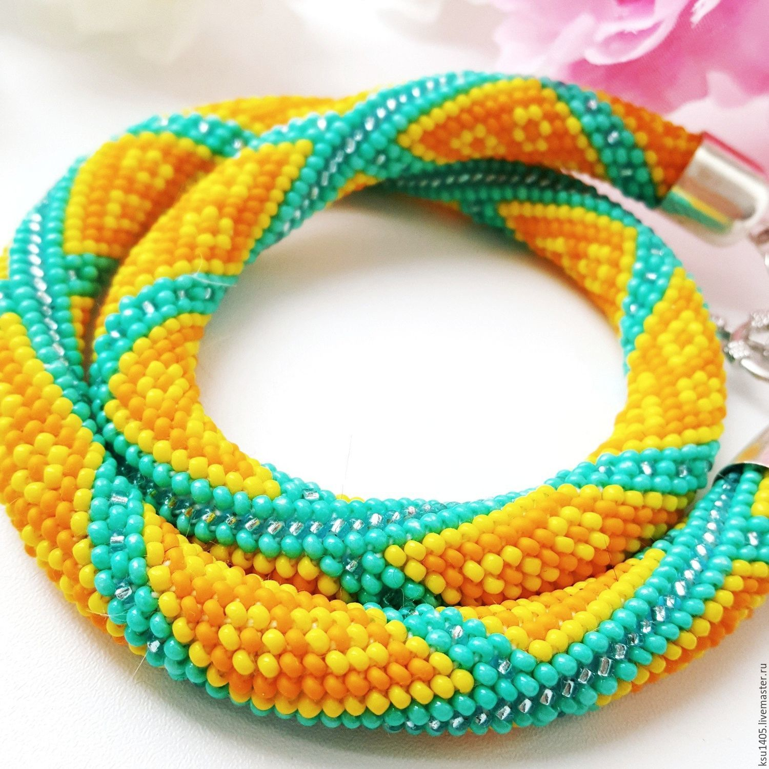 Harness-beaded necklace 'Citrus mix', Necklace, St. Petersburg,  Фото №1
