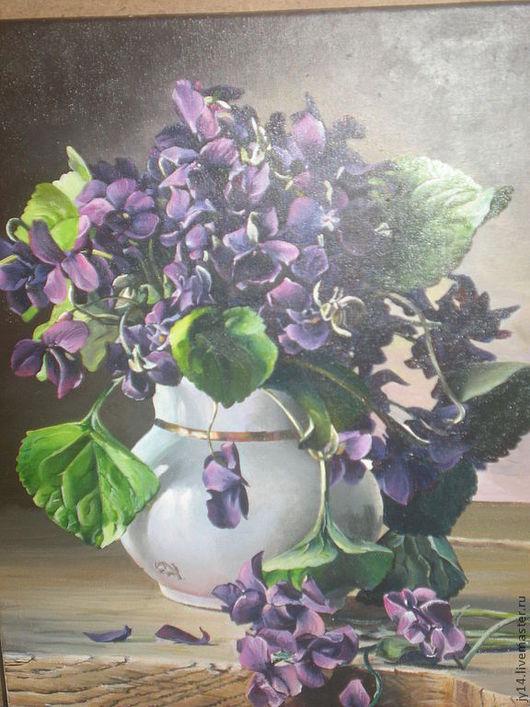 Картины цветов ручной работы. Ярмарка Мастеров - ручная работа. Купить весна. Handmade. Картина маслом, фиалки, ручная работа
